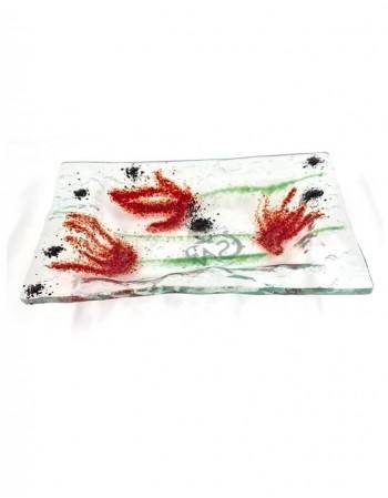 """Stikla šķīvis """"Aguonų žydėjimas"""""""